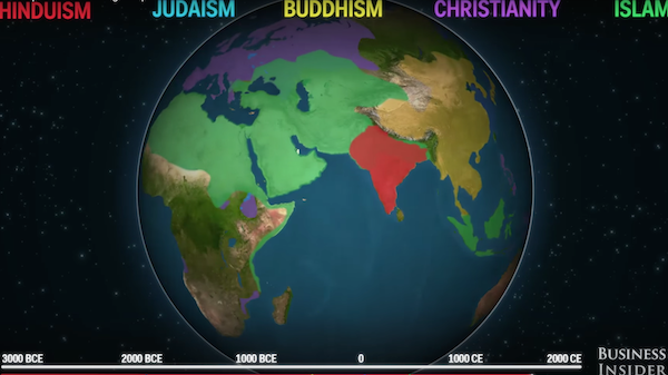 Animated Map Shows How Five Religions Spread Around The World - World religion map judaism