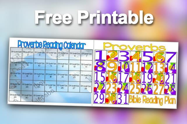 Free Printable Proverbs Bible Reading Plan For Children