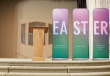 Check out these 12 easy church stage design ideas for Easter--when you're running out of time to decorate the stage (or even the foyer)! #Easter #EasterSunday #StageDesign #EasterStageDesign #Church