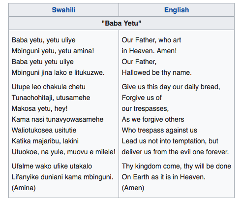 Baba Yetu lyrics