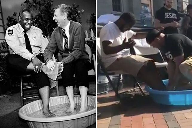 Churches Take Cue From Bible Mr Rogers In Foot Washing Ceremonies