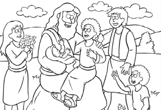 free coloring page jesus and the children - Child Coloring Pages