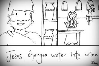 Free Coloring Page Downloads Jesus Turns Water into Wine